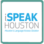 iSpeak Houston logo image.